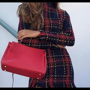 Red and navy blue pattern dress